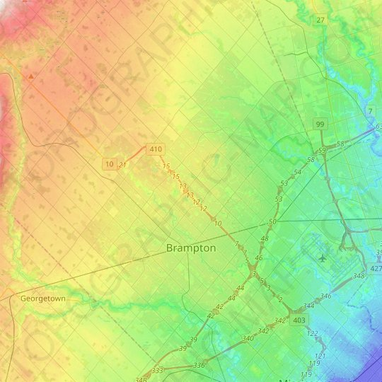 Brampton topographic map, relief map, elevations map
