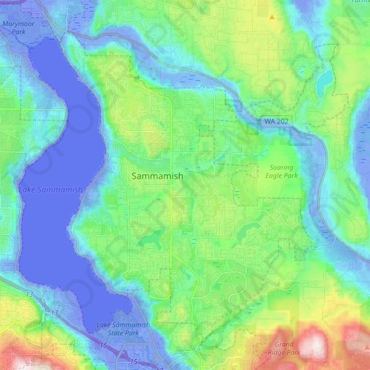 Sammamish topographic map, elevation, relief