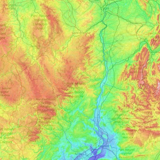 Ardèche topographic map, relief map, elevations map
