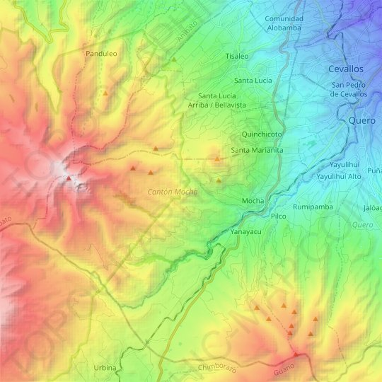 Mocha topographic map, relief, elevation