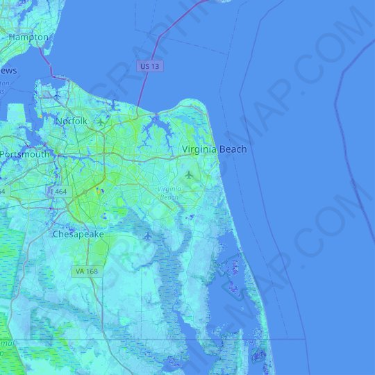 Virginia Beach topographic map, elevation, relief