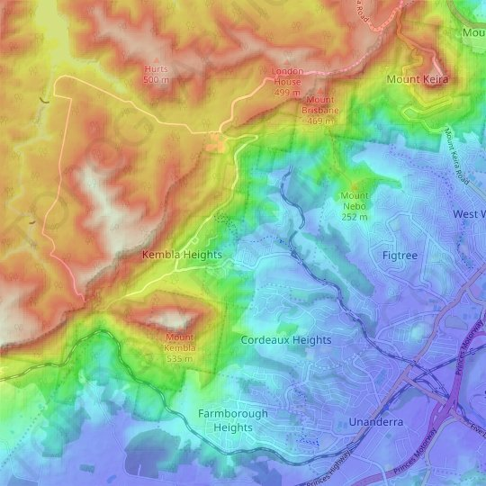 Mount Kembla topographic map, relief map, elevations map