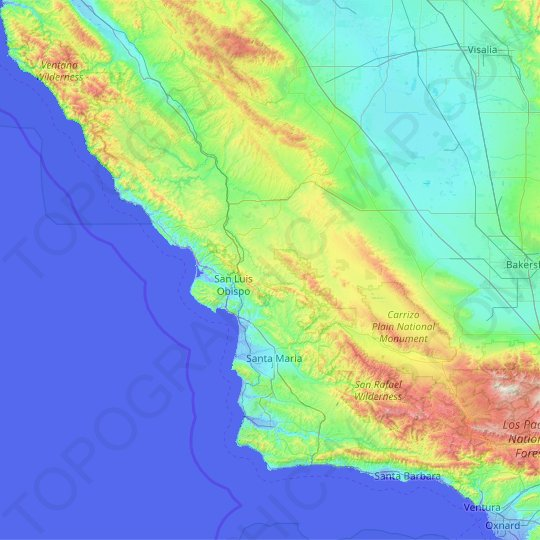 San Luis Obispo County topographic map, relief map, elevations map