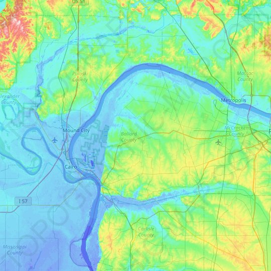 Ballard County topographic map, elevation, relief