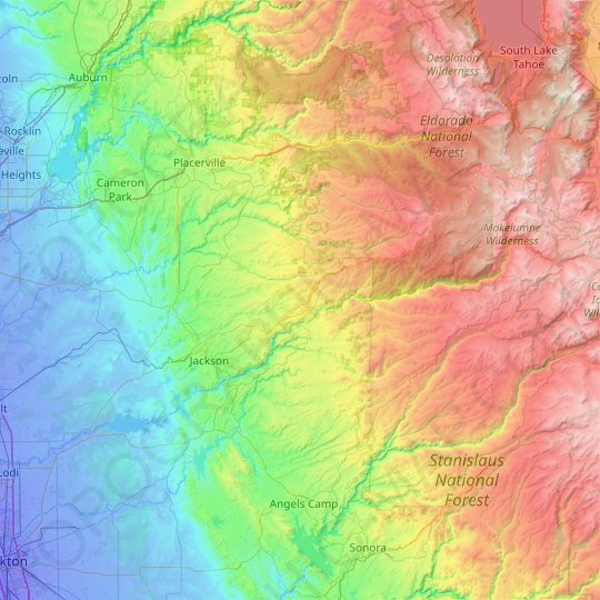 Amador County topographic map, relief, elevation