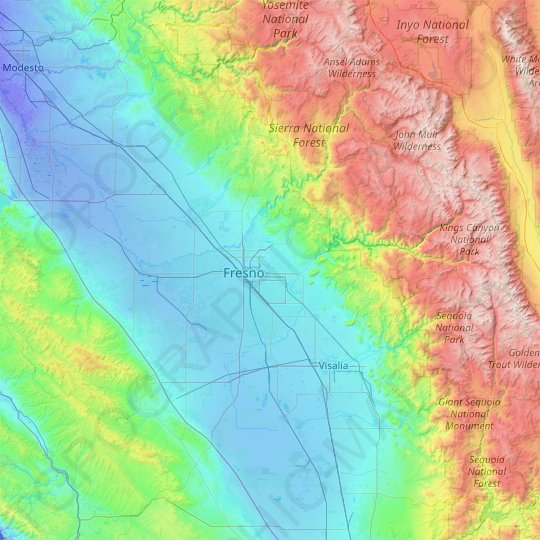 Fresno County topographic map, relief map, elevations map