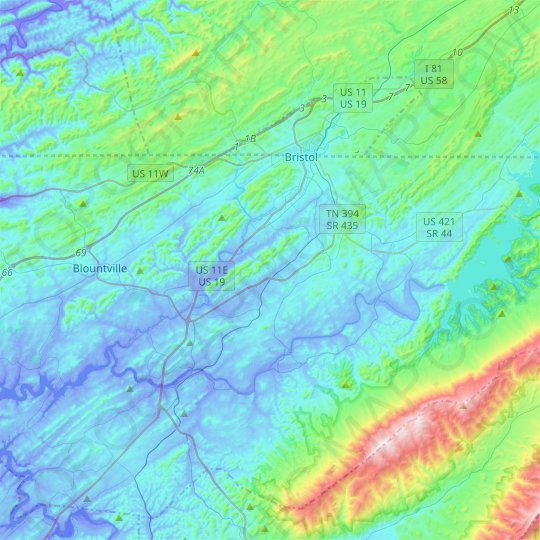 Bristol topographic map, relief map, elevations map