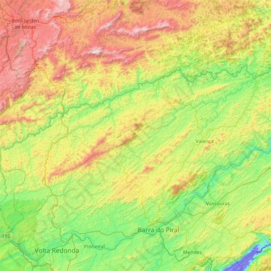 Valença topographic map, elevation, relief