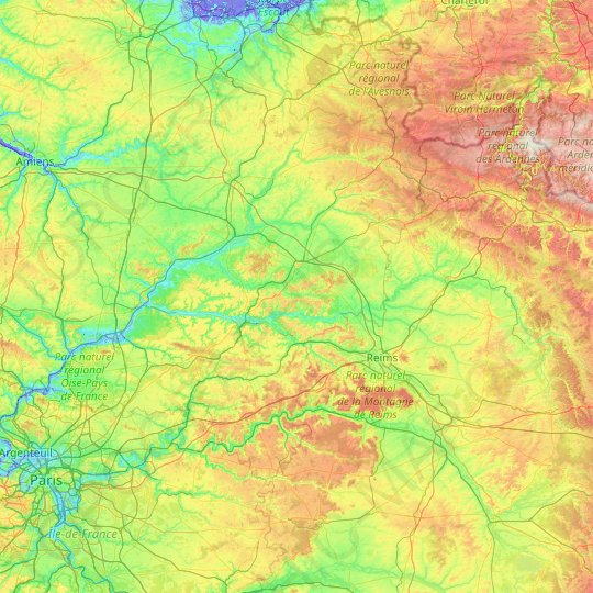Aisne topographic map, relief map, elevations map