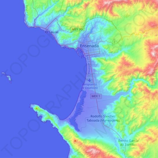 Ensenada topographic map, relief map, elevations map