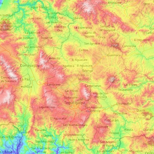 Francisco Morazán topographic map, relief map, elevations map
