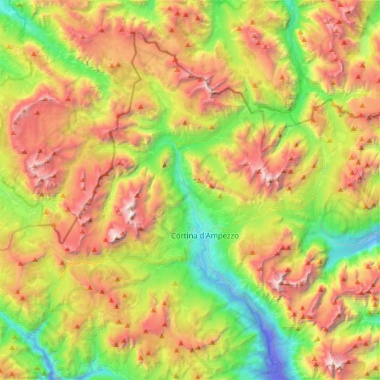 Cortina d'Ampezzo topographic map, relief map, elevations map