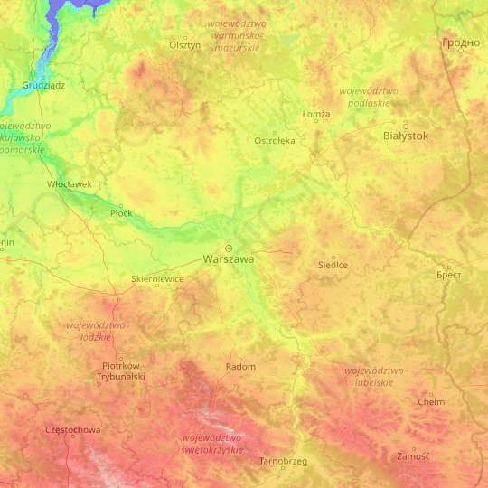 Masovian Voivodeship topographic map, relief map, elevations map