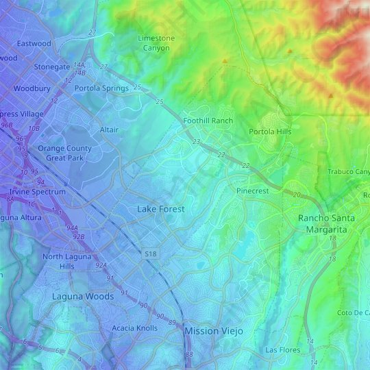 Lake Forest topographic map, relief map, elevations map