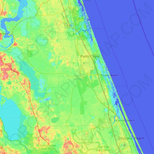 Flagler County topographic map, elevation, relief