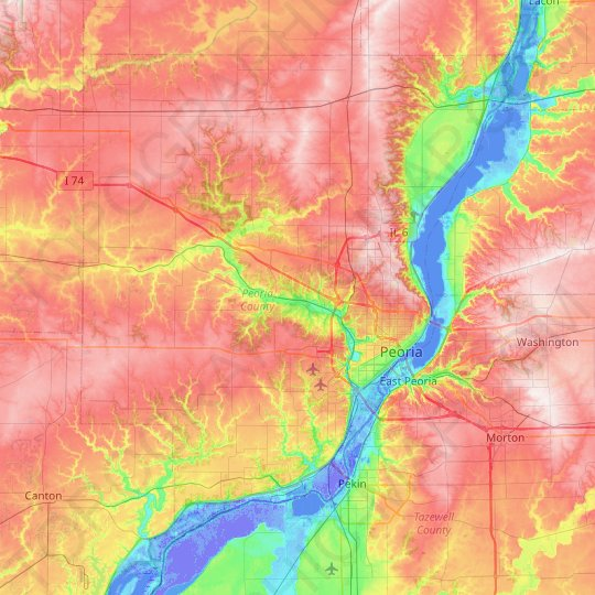 Peoria County topographic map, relief map, elevations map