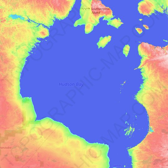 Hudson Bay topographic map, relief map, elevations map