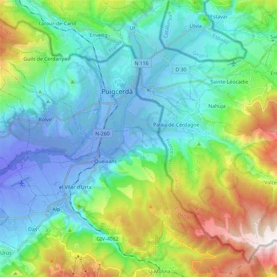 Puigcerdà topographic map, relief map, elevations map