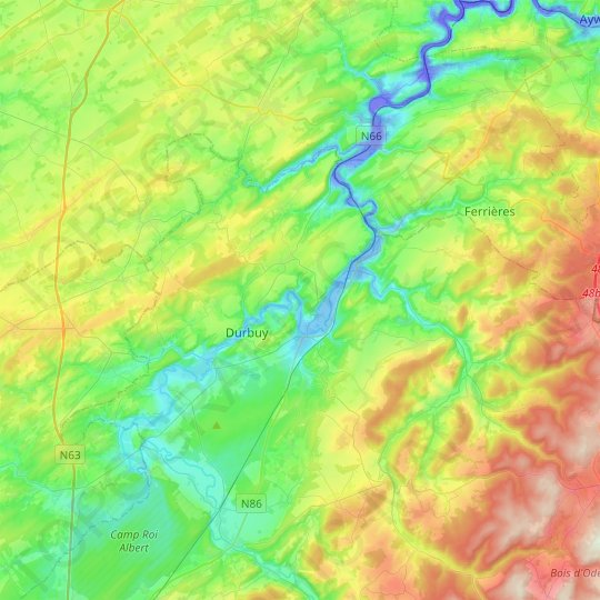 Durbuy topographic map, relief map, elevations map
