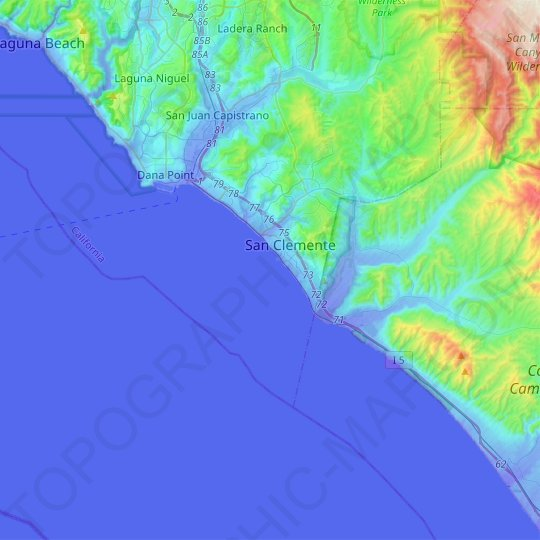 San Clemente topographic map, relief map, elevations map