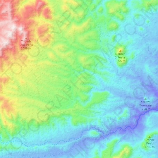 Cross Canyon topographic map, elevation, relief