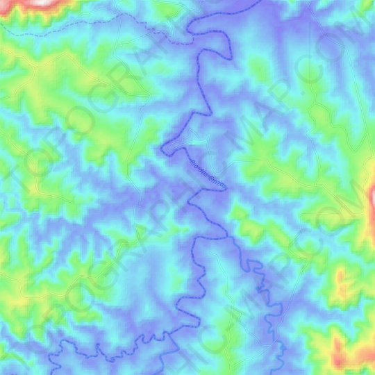 Ribeirão Bonito topographic map, relief map, elevations map