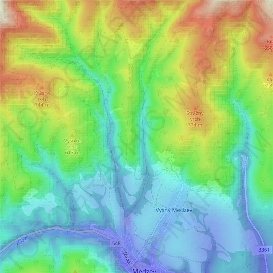 Humel topographic map, relief map, elevations map