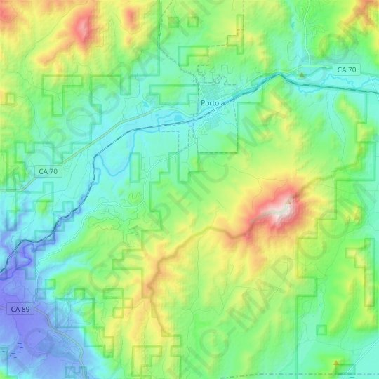 Iron Horse topographic map, elevation, relief