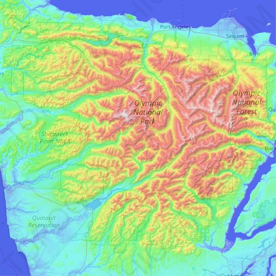 Olympic Mountains topographic map, elevation, relief