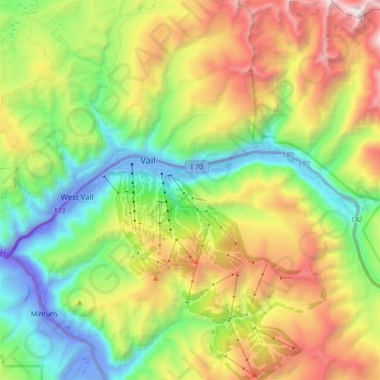 Vail topographic map, elevation, relief