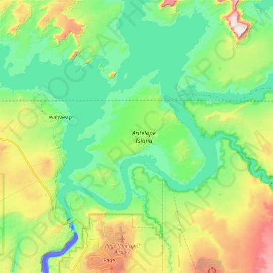 Antelope Island topographic map, elevation, relief