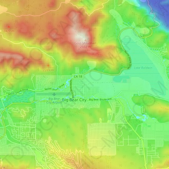 Big Bear City topographic map, elevation, relief