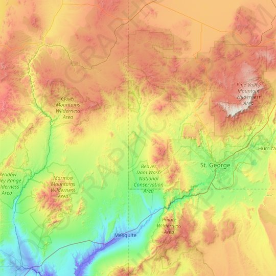 Beaver Dam Wash topographic map, elevation, relief