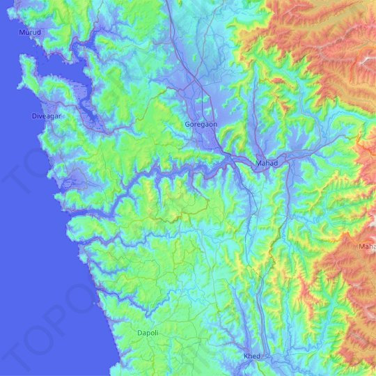 Savitri River topographic map, relief map, elevations map